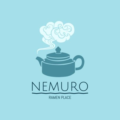 Japanese Restaurant Logo Template with Teapot Graphics 1825d