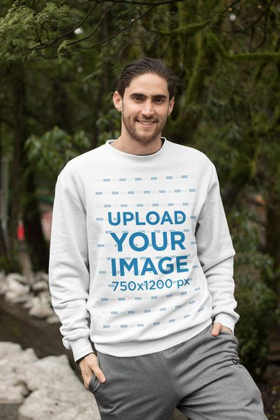 Crewneck Sweatshirt Mockup Featuring a Bearded Man in a Wooded Area 25109