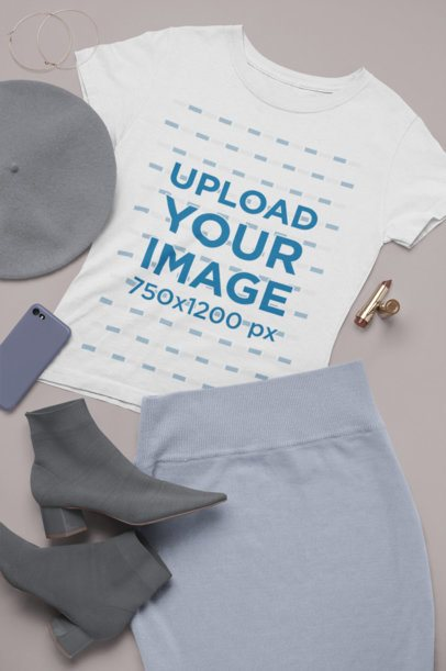 T-Shirt Mockup Featuring a Chic Outfit 26341