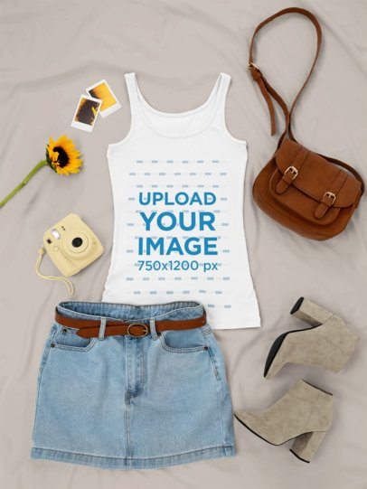 Outfit Mockup Featuring a Tank Top Next to a Denim Skirt and Suede Low Boots 26337
