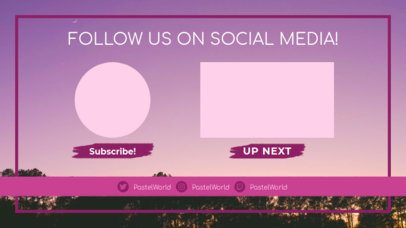 Simple YouTube End Card Design Maker with Social Media Icons 1264b