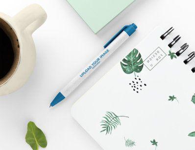 Mockup of an Eco-Friendly Pen on a Neat Desk 23583