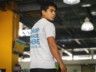 Back Shot of a Man at the Gym T-Shirt Mockup a8166