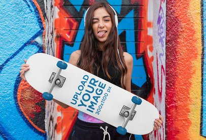 Skateboard Mockup Featuring a Young Woman With Headphones 27126
