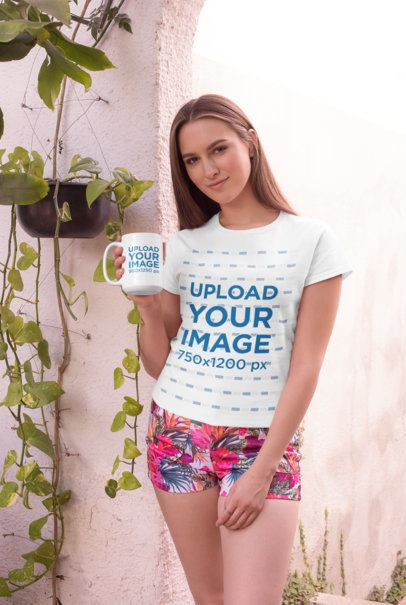 15 oz Coffee Mug Mockup Featuring a Woman in a T-Shirt by a Plant Pot 27513