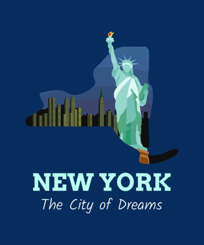 Illustrated T-Shirt Design Template with a Statue of Liberty Clipart 1382b