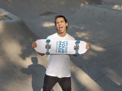 Skateboard Mockup Featuring a Male Skater Making a Crazy Face 27203