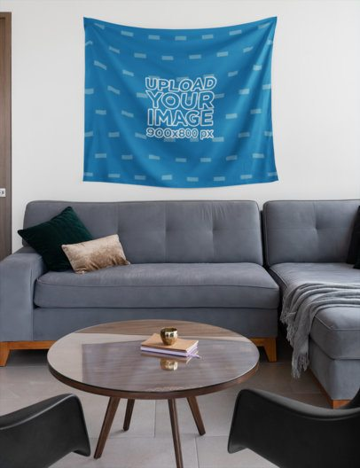 Mockup of a Wall Tapestry in a Living Room 27376