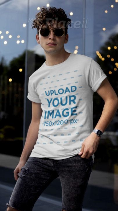 T-Shirt Video Featuring a Stylish Man Posing with His Sunglasses 22453