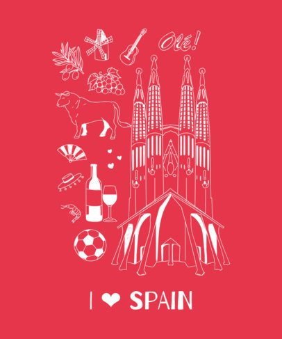 Patriotic T-Shirt Design Maker with a Spanish Theme 1404c