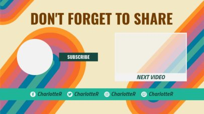 YouTube End Card Design Template with Rainbow Colors 1438c