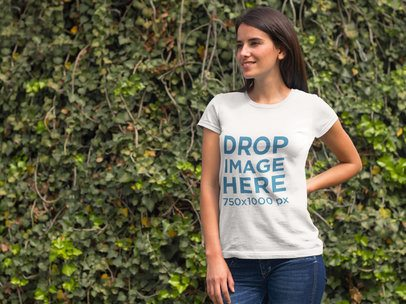 T-Shirt Mockup Featuring a Woman in a Garden a8365