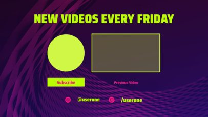 Wavy YouTube End Screen Template with a New Videos Panel 1440b