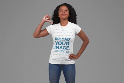 Patriotic Mockup of a Woman Pointing at Her T-Shirt 27862