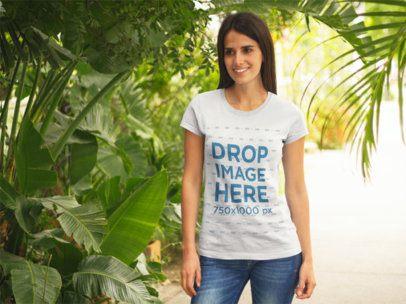 Young Woman at a Tree Nursery T-Shirt Mockup a8312