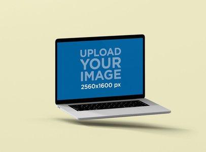 Macbook Pro Screen Mockup Floating Inside a Minimalist Surface 65-el