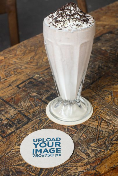 Coaster Mockup Featuring a Wooden Surface and a Milkshake 27800