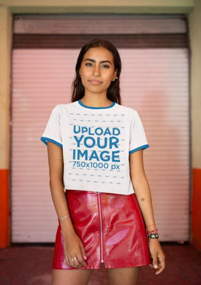 Mockup of a Fabulous Woman Wearing a Ringer T-Shirt and a Red Leather Skirt 27279