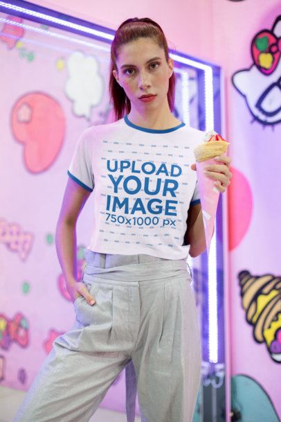 Ringer T-Shirt Mockup of a Woman Holding an Ice Cream Cone 27256
