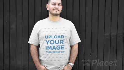 Plus Size T-Shirt Video of a Man Against a Black Background 12467