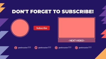 YouTube End Screen Template with Multicolored Spikes 1431b