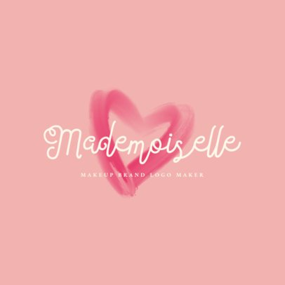 Professional Makeup Brand Logo Template with a Heart Silhouette 2210a
