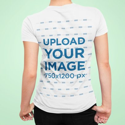 Closeup Back View T-Shirt Mockup of a Woman Against a Plain Background 91-el