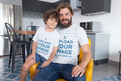 Mockup of a Dad and His Son Wearing T-Shirts at Home 28057