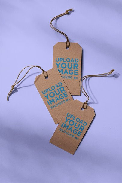 Mockup of Three Brand Tags on a Plain Surface 27649