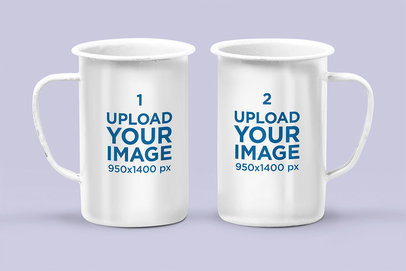 Mockup of Two 21 oz Enamel Mugs in Different Positions Against a White Background 28258