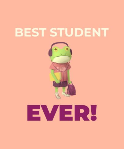 Funny T-Shirt Design Template with a Student Frog Graphic 1520d