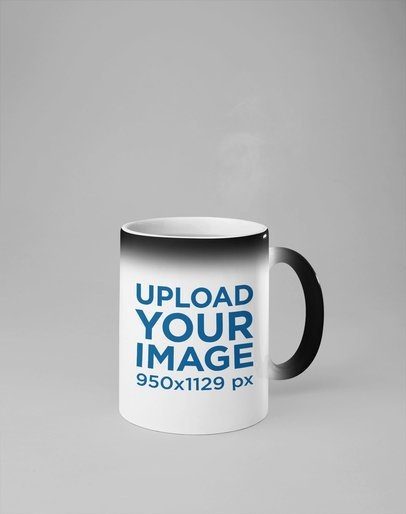 Mockup of an 11 Oz Magic Mug Against a Solid Background 28177
