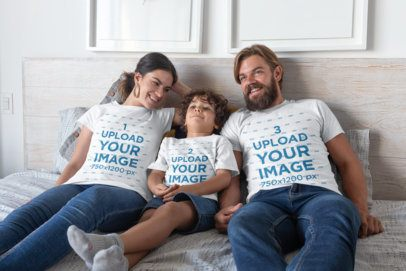 T-Shirt Mockup of a Family of Three on the Bed 28063