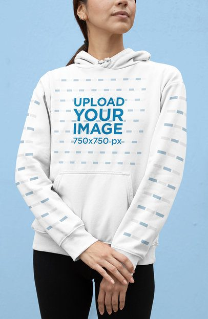 Mockup of a Cropped-Face Woman Wearing a Pullover Hoodie 28302