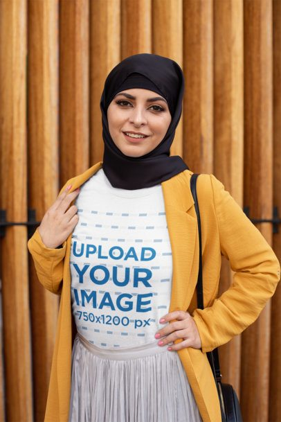 T-Shirt Mockup of a Trendy Woman with a Hijab 28296