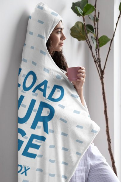 Hooded Blanket Mockup Featuring a Woman Looking Outside 28130