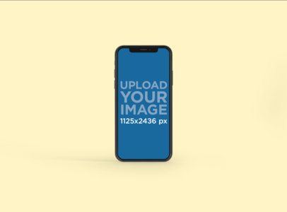 Minimalistic Mockup Featuring an iPhone X Against a Plain Background 129-el