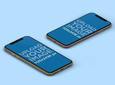 Mockup Featuring Two iPhones X Lying on a Solid Color Surface 131-el