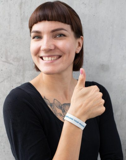 Paper Wristband Mockup Featuring a Happy Customer 28221