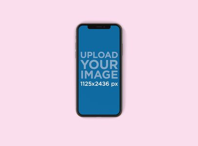 Minimal Mockup Featuring an iPhone X Against a Solid Color Surface 134-el