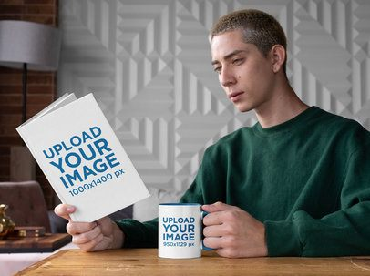 Mockup of a Man Drinking from a Two-Toned Coffee Mug While Reading a Book 28454