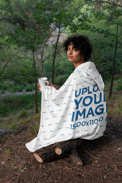 Hooded Blanket Mockup of a Woman Sitting in the Woods 28145