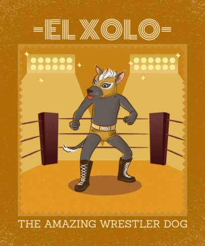 T-Shirt Design Maker of a Mexican Dog with a Luchador Mask 1635g