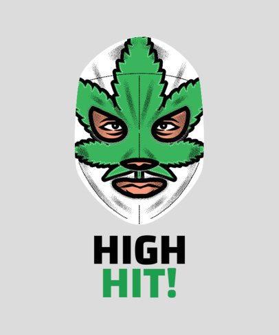 Wrestler T-Shirt Design Maker with a Marijuana Mask 1640d
