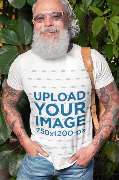 T-Shirt Mockup Featuring a Senior Man with a Trendy Style 28425