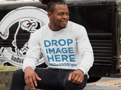 Man Sitting by a Food Truck Long Sleeve Mockup a9290
