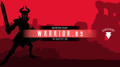 Adventure-Themed YouTube Banner Maker with a Warrior Character 1672b