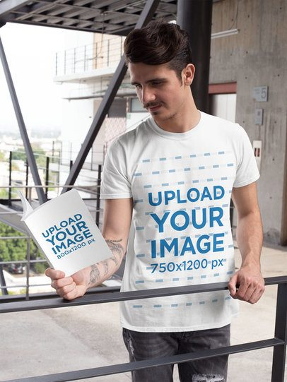 Book Mockup of a Man Wearing a T-Shirt and Reading Outside 28502