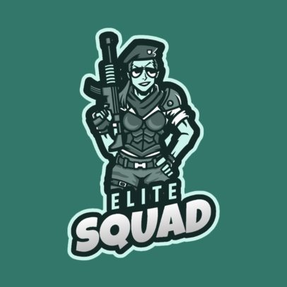 Fortnite-Style Gaming Logo Template with a Female Soldier Character 2397d 2407