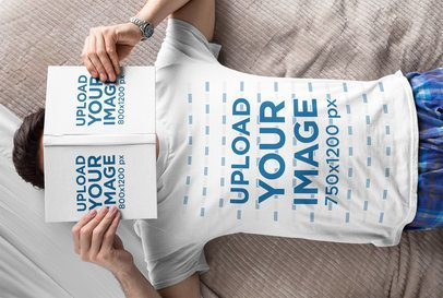 T-Shirt Mockup of a Man Lying on a Bed with an Open Book on His Face 28491